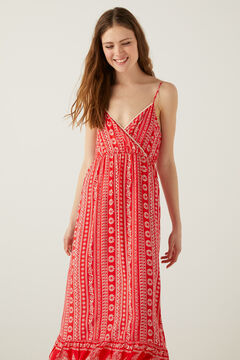 Springfield Long boho ethnic print dress red