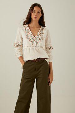 Springfield Embroidered organic cotton blouse medium beige