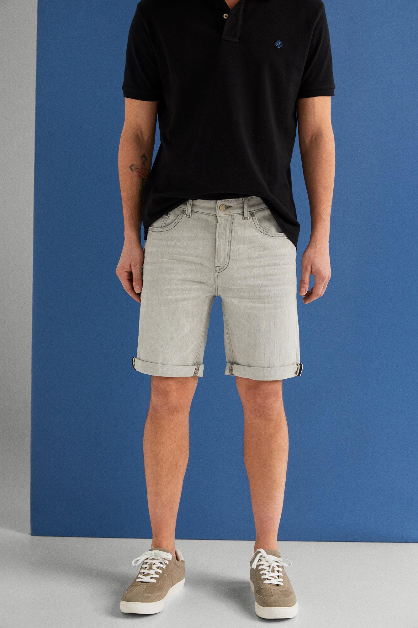 e3b7622795 Springfield Grey regular fit vintage Bermuda shorts light wash denim light  gray
