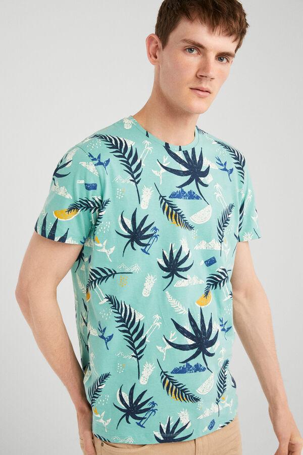 d46bff41a Springfield Camiseta manga corta tropical verde caza