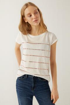 Springfield T-shirt rayures paillettes écru