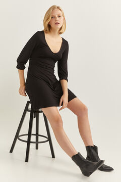 Springfield Short Button Neckline Dress black