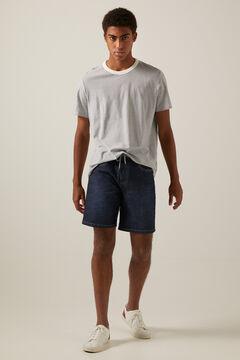 Springfield Dark wash super lightweight denim Bermuda shorts blue