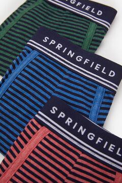 Springfield Pack 3 boxers básicos riscas verde