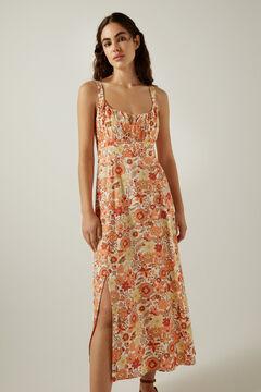 Springfield Floral gathered neckline midi dress  medium beige