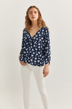 Springfield PRINTED PUSSY BOW BLOUSE blue mix
