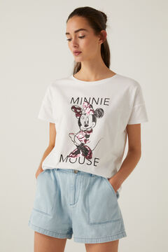 Springfield Organic cotton Minnie Mouse sequins T-shirt white