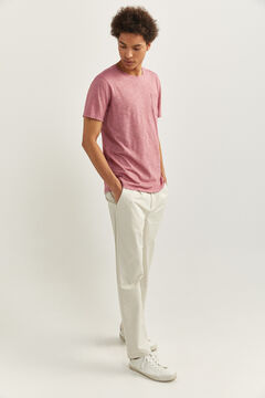 Springfield Textured t-shirt with pocket pink