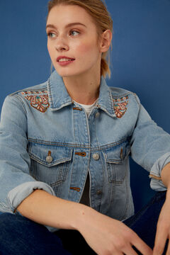 Springfield Embroidered denim jacket blue