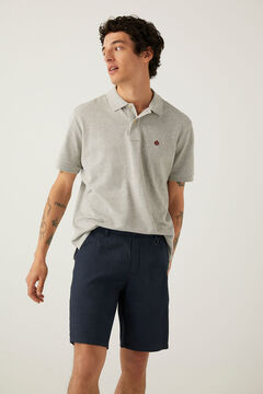 Springfield Textured two-tone casual Bermuda shorts blue