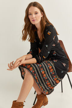 Springfield Floral Borders Midi Dress black