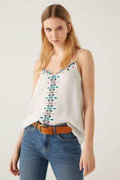 Springfield Multicoloured embroidered top grey