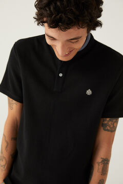 Springfield Slim fit mandarin collar chambray polo shirt black