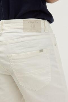 Springfield 5 pocket slim distressed Bermuda shorts ecru