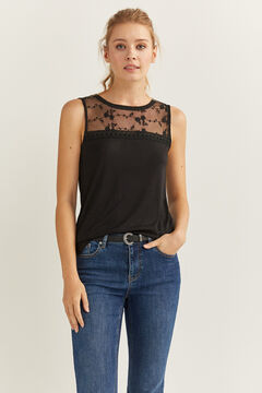 Springfield Sheer lace neckline t-shirt black