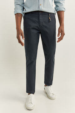 Springfield MICRO PRINT CHINOS WITH KEY RING blue