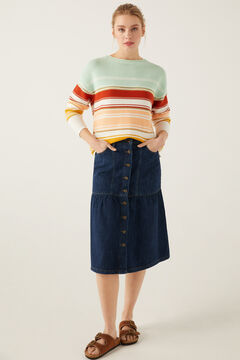 Springfield Striped Textured Jumper terracotta