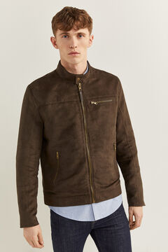 Springfield Faux suede biker jacket brown