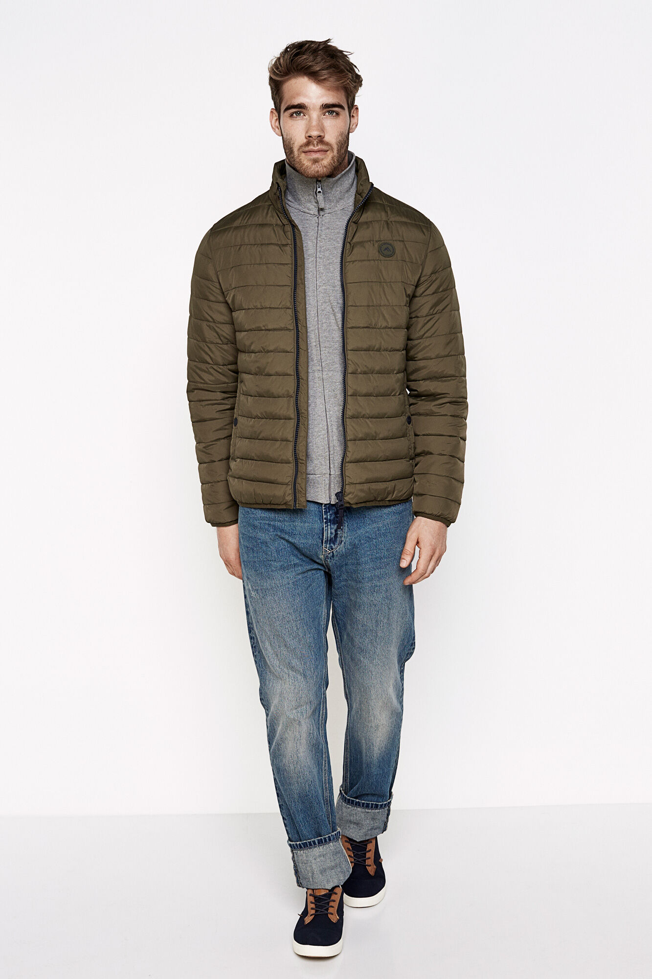 QUILTED JACKET | Coats | Springfield Man & Woman : quilted jacket green - Adamdwight.com
