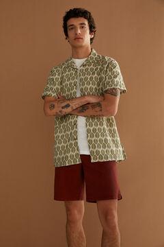 Springfield Camisa manga corta lino estampada esmeralda