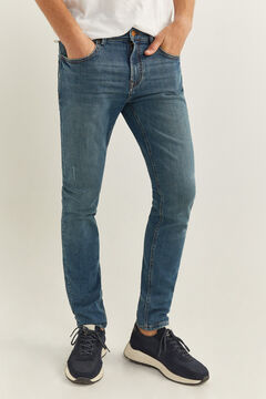 Springfield Medium wash distressed skinny jeans blue
