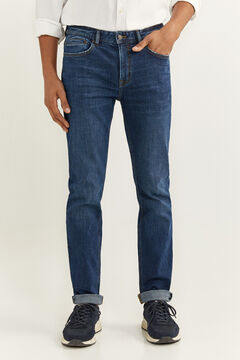 Springfield MEDIUM-DARK WASH SLIM FIT JEANS bluish