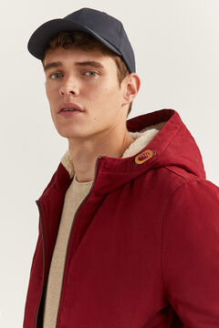 Springfield SHEEPSKIN HOOD JACKET deep red