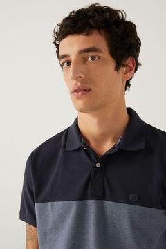 Springfield Slim striped Oxford polo shirt blue