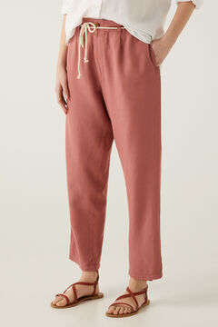 Springfield Tencel belted baggy trousers bordeaux