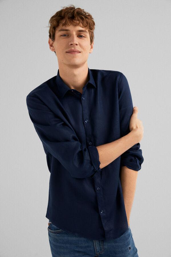 Springfield Premium linen shirt bluish 08afd012cec