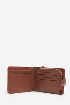 Springfield Essential faux leather and suede wallet brown