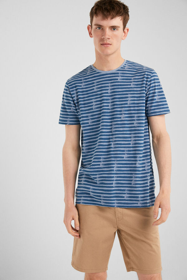 204c7b6a92 Springfield Camiseta manga corta tropical azul indigo