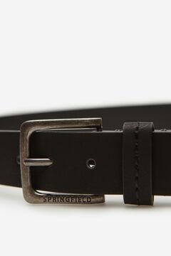 Springfield Cinturón efecto piel pespuntes negro