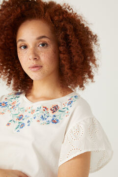 Springfield Floral embroidery T-shirt grey