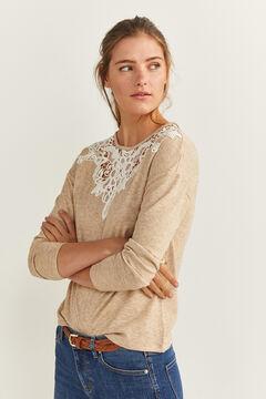 Springfield Camiseta Cuello Crochet piedra