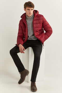 Springfield QUILTED JACKET WITH DUPONT™ SORONA® PADDING AND REMOVABLE HOOD deep red