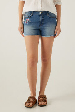 Springfield Denim shorts with embroidered flower steel blue