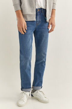Springfield Medium wash slim fit jeans steel blue