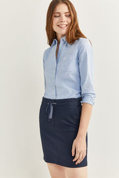 Springfield Chino skirt with elasticated waist blue mix