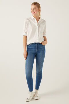 Springfield Jeans High Rise Skinny Lavagem Sustentável azul aço