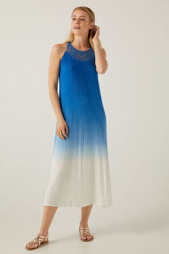 Springfield Long tie dye crochet dress acqua