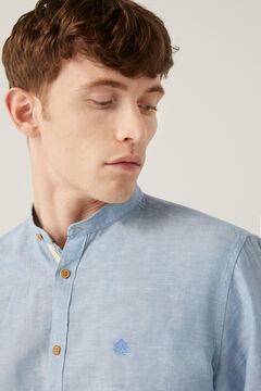 Springfield Linen mandarin shirt steel blue