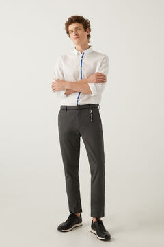 Springfield Textured two-tone formal chinos grey mix