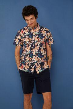Springfield Short-sleeved printed shirt natural