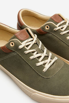 Springfield Lace-up sneaker in split leather dark green
