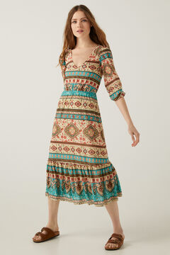 Springfield Ethnic print midi dress grey