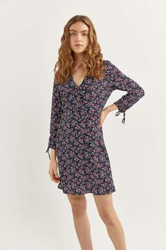 Springfield Crossover neckline dress navy mix