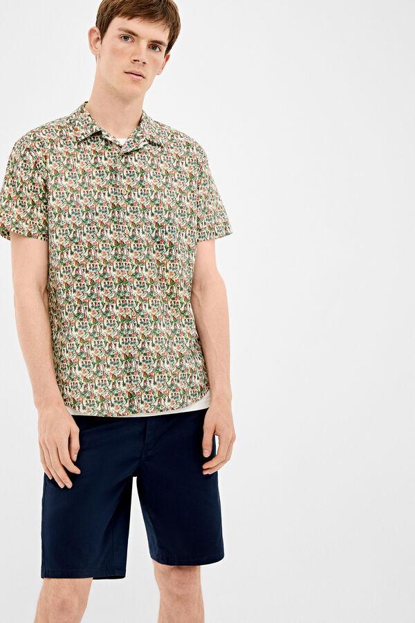 341e6812a9 Springfield Camisa tejido italiano estampada verde jungla