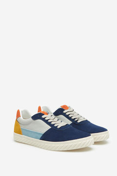 Springfield Split leather and fabric sneaker bluish