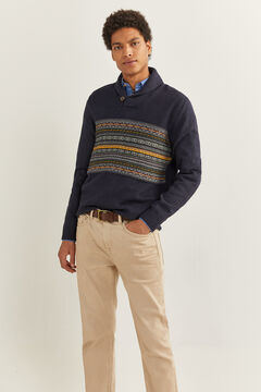 Springfield JACQUARD SHAWL NECK JUMPER blue
